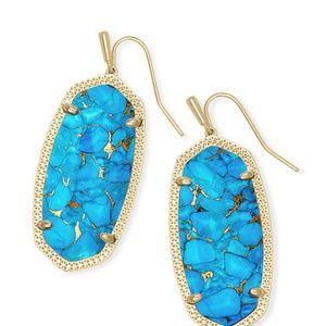 Elle Gold Drop Earring In Bronze Veined Turquoise